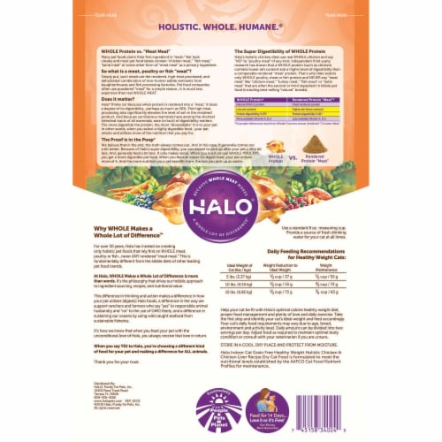 Halo Grain Free Indoor Cat Pour Chats Dry Cat Food - Holistic Chicken and Chicken Liver - 3 lb Perspective: back