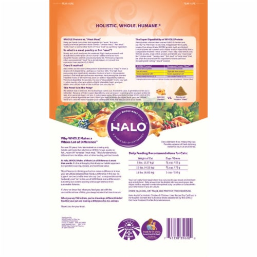 HALO Holistic Chicken & Chicken Liver Natural Dry Cat Food Perspective: back