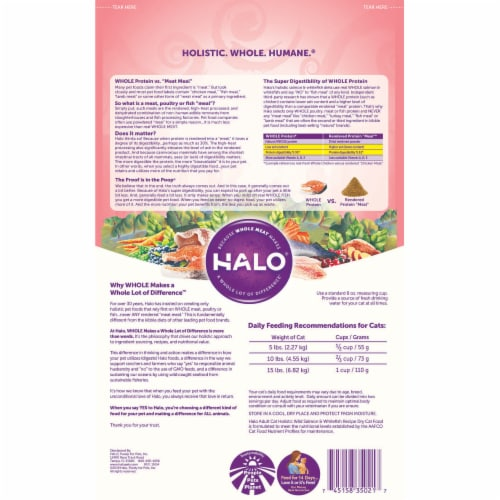 Halo Adult Cat Pour Chats - Holistic Wild Salmon and Whitefish - 6 lb Perspective: back