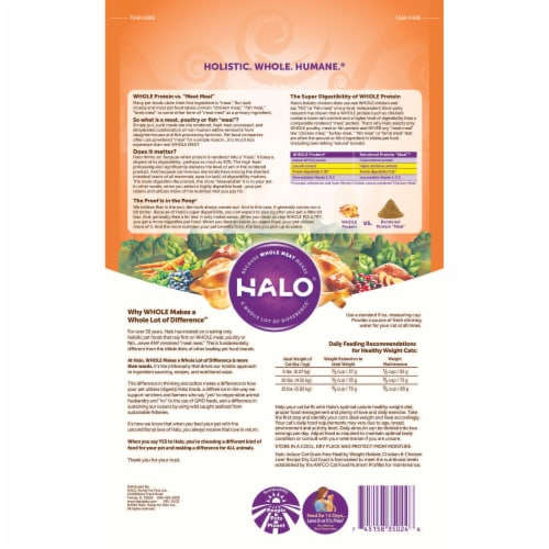 HALO Indoor Chicken & Chicken Liver Recipe Grain Free Natural Dry Cat Food Perspective: back