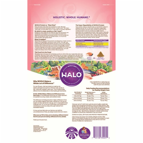 HALO Indoor Salmon & Whitefish Recipe Grain Free Natural Dry Cat Food Perspective: back