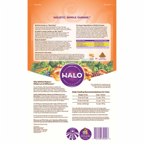 HALO Grain Free Chicken & Chicken Liver Natural Dry Senior Cat Food Perspective: back