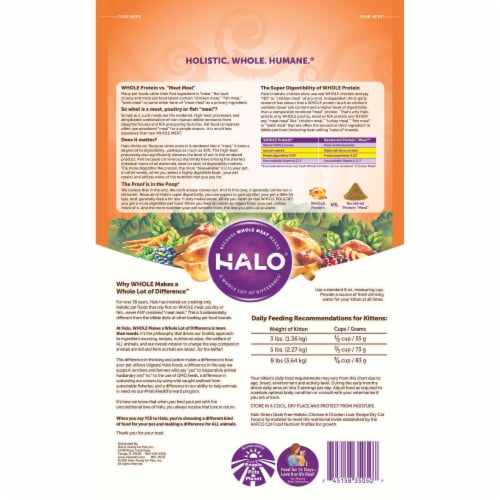 HALO Grain Free Chicken & Chicken Liver Natural Dry Kitten Food Perspective: back