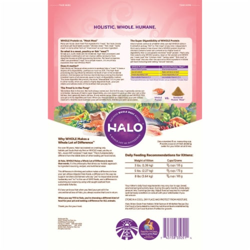 HALO Grain Free Wild Salmon & Whitefish Natural Dry Kitten Food Perspective: back