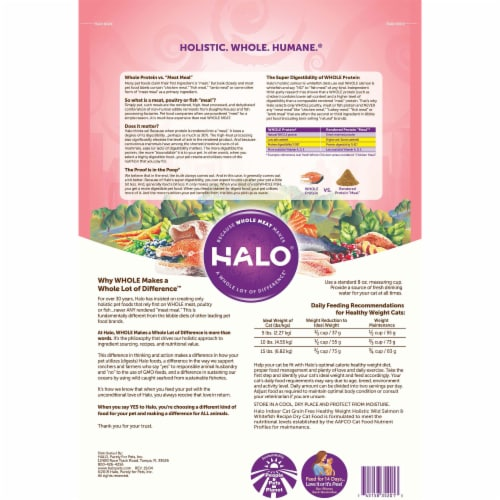 HALO Grain Free Wild Salmon & Whitefish Natural Dry Adult Indoor Cat Food Perspective: back