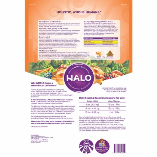 HALO Chicken & Chicken Liver Natural Dry Adult Cat Food Perspective: back