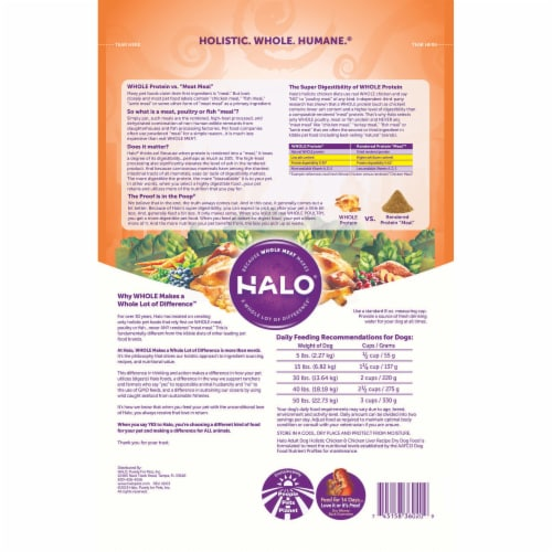 HALO Holistic Chicken & Chicken Liver Dog Food Perspective: back