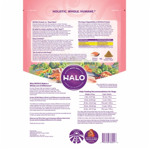 HALO Wild Salmon & Whitefish Recipe Natural Dry Dog Food Perspective: back