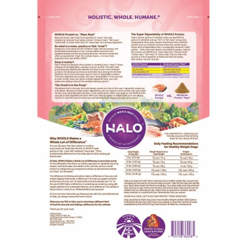 HALO Small Breed Healthy Weight Salmon & Whitefish Grain Free Natural Dry Dog Food Perspective: back