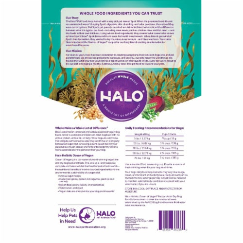 HALO Ocean of Vegan Recipe Adult Dry Dog Food Perspective: back