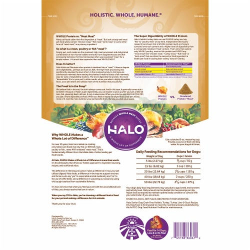HALO Grain Free Turkey Liver and Duck Recipe Senior Dog Food Perspective: back
