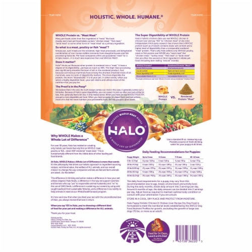 HALO Chicken & Chicken Liver Recipe Natural Dry Puppy Food Perspective: back