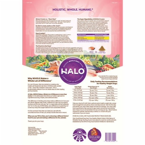 HALO Small Breed Salmon & Whitefish Recipe Grain Free Natural Dry Dog Food Perspective: back