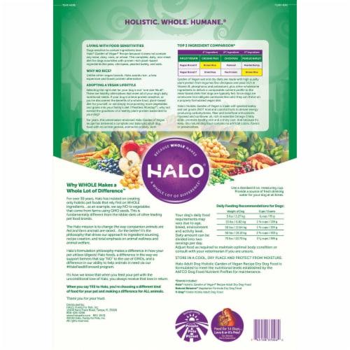 HALO Garden of Vegan Recipe Natural Dry Dog Food Perspective: back