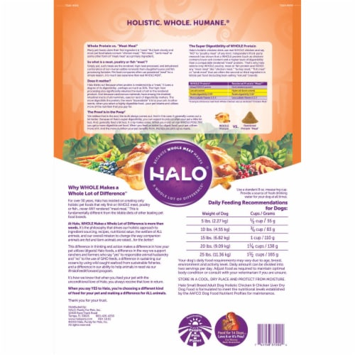 HALO Small Breed Chicken & Chicken Liver Recipe Natural Dry Dog Food Perspective: back
