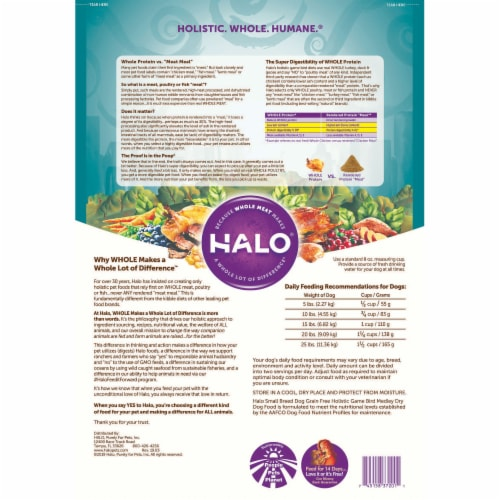 HALO Small Breed Game Bird Medley Grain Free Natural Dry Dog Food Perspective: back