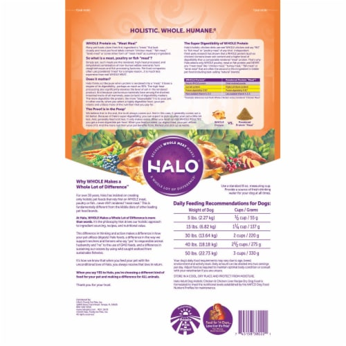 HALO Chicken & Chicken Liver Recipe Natural Dry Adult Dog Food Perspective: back