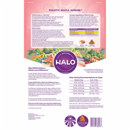 HALO Wild Salmon & Whitefish Natural Dry Adult Dog Food Perspective: back