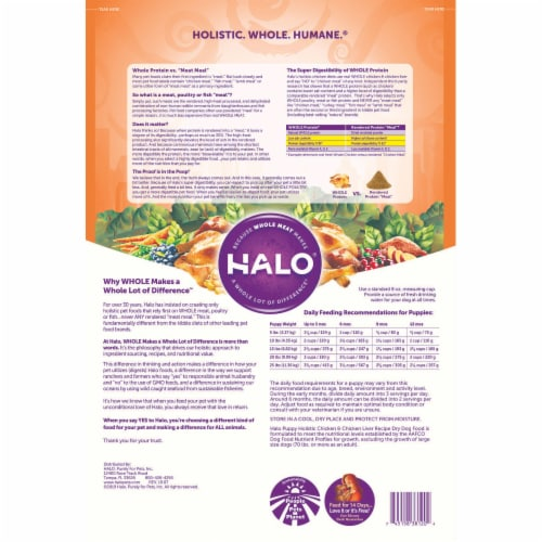 HALO Chicken & Chicken Liver Natural Dry Puppy Food Perspective: back