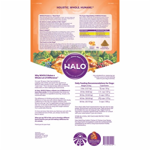 Halo Holistic Chicken & Chicken Liver Dry Adult Dog Food Perspective: back