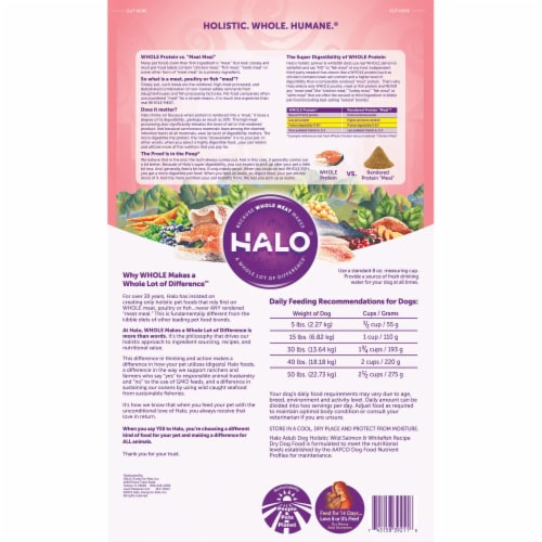 Halo Wild Salmon & Whitefish Natural Dry Dog Food Perspective: back