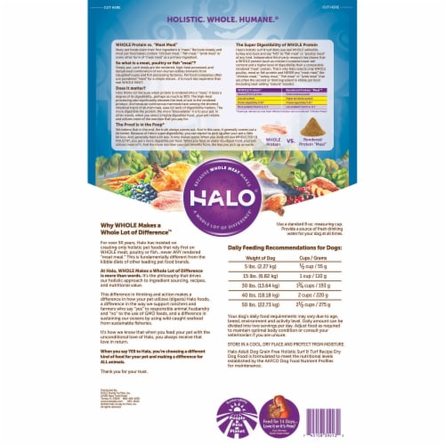 HALO Surf & Turf Grain Free Natural Dry Dog Food Perspective: back