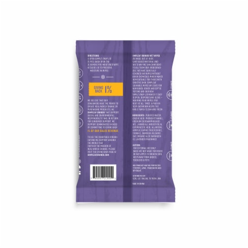 Simpleaf Flushable Wet Wipes Soothing Aloe Vera Formula with Lavender Scent (25Count) 6 PK Perspective: back