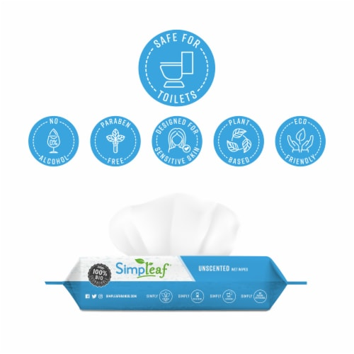 Simpleaf Unscented Flushable Wipes 50 count 3 pack Perspective: back