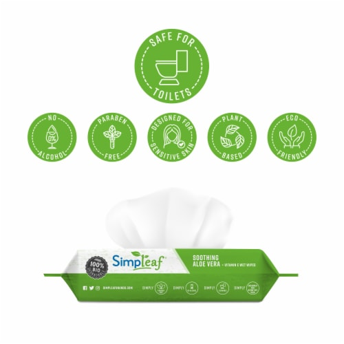 Simpleaf Aloe Vera Flushable Wipes 50 count 1 pack Perspective: back