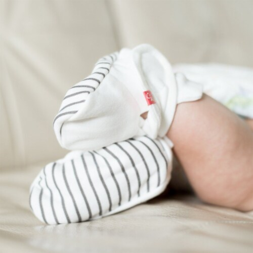 Goumikids Organic Stay On Baby Infant Booties, 0-3M Stripe/Midnight (2 Pairs) Perspective: back