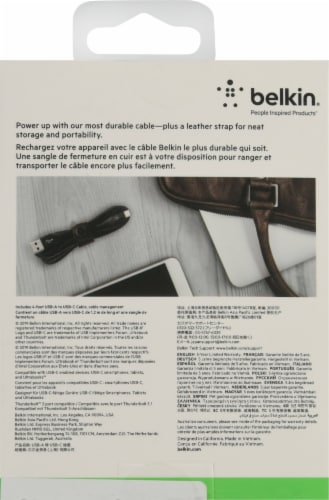 Belkin Black Braided USB-A to USB-C Charging Cable Perspective: back