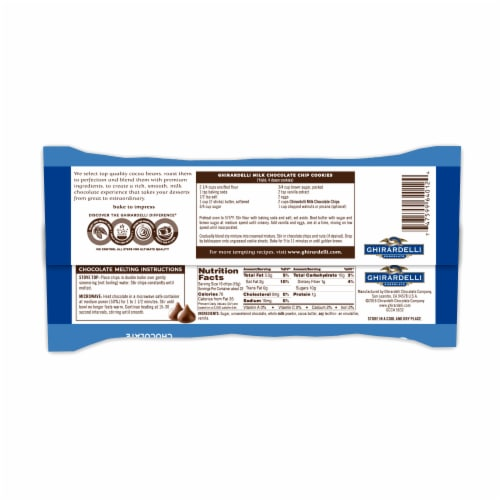 Ghirardelli Milk Chocolate Premium Baking Chips Perspective: back