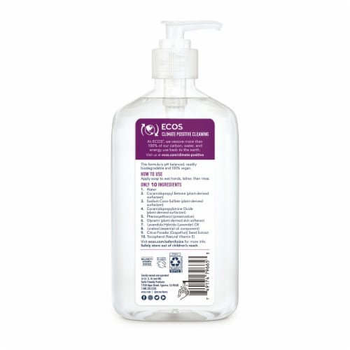 ECOS® Plant Powered Hypoallergenic Lavender Hand Soap Perspective: back