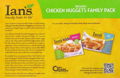 Ian's Breaded Chicken Nuggests Family Pack Perspective: back