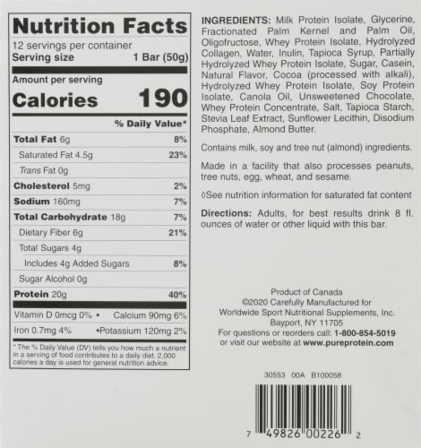 Pure Protein® Chocolate Caramel Bars Perspective: back