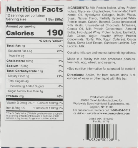 Pure Protein® Cookie Dough Bars Perspective: back
