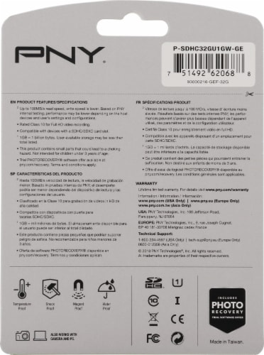 PNY High Performance SHDC Memory Card - Black Perspective: back