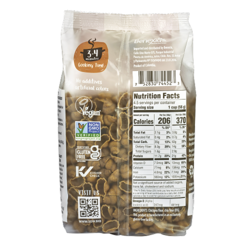 Seeds of Wellness Gluten-Free Chickpea Chia Pasta Shells Perspective: back