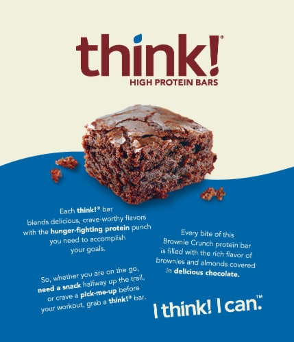 think! Brownie Crunch High Protein Bars Perspective: back