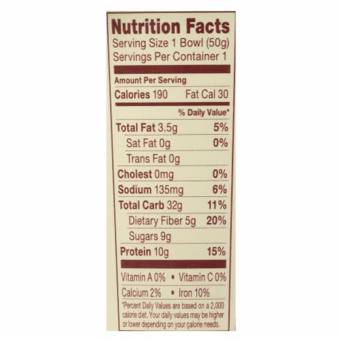 Vanilla Almonds and Pecan Protein and Fiber Hot Oatmeal, 1.76 Ounce Bowl -- 6 per case. Perspective: back