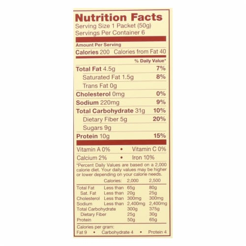 Think! Thin Protein and Fiber Oatmeal - Honey Peanut Butter - Case of 6 - 6/1.76oz Perspective: back