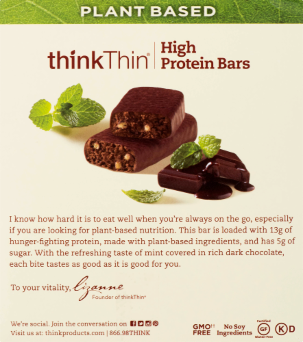 thinkThin Chocolate Mint Plant Based High Protein Bars Perspective: back