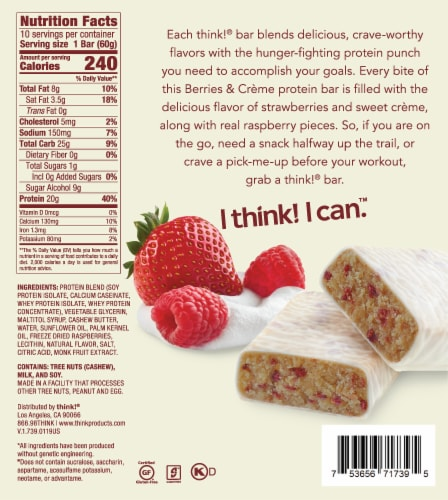 think! Berries & Creme High Protein Bars Perspective: back