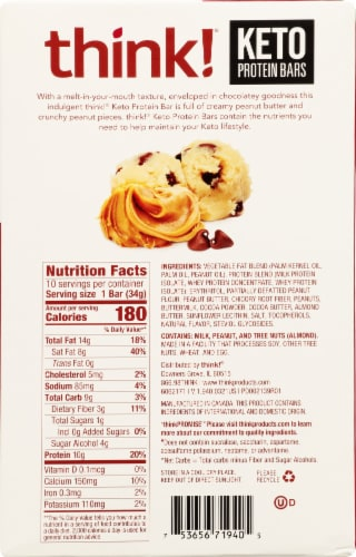 think! Chocolate Chip Peanut Butter Cookie Dough Keto Protein Bars Perspective: back