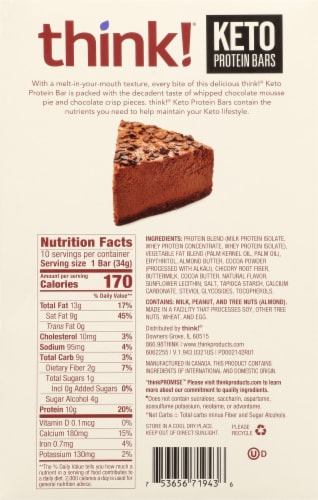 think!® Keto Chocolate Mousse Pie Protein Bar Perspective: back