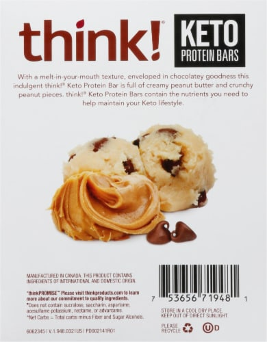 think!® Keto Chocolate Peanut Butter Cookie Dough Protein Bars Perspective: back