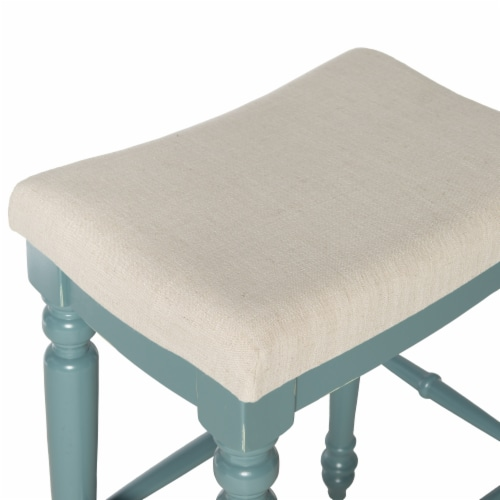 Saltoro Sherpi Saddle Top Wooden Bar Stool with Fabric Upholstery, Blue and Beige Perspective: back