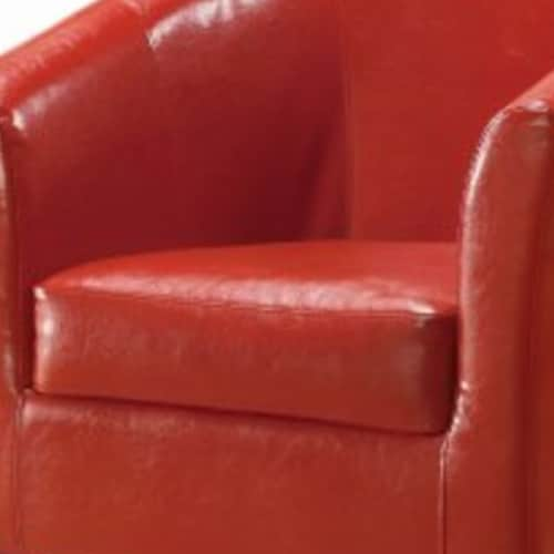 Wooden Club Chair with Faux Leather Upholstery, Red and Brown Perspective: back