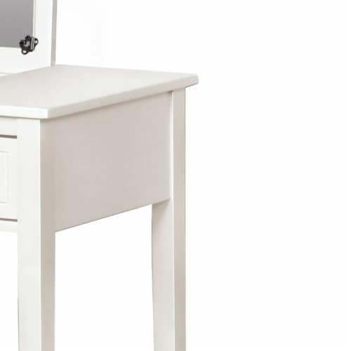 Linon Butterfly Wood Vanity and Stool in White Perspective: back