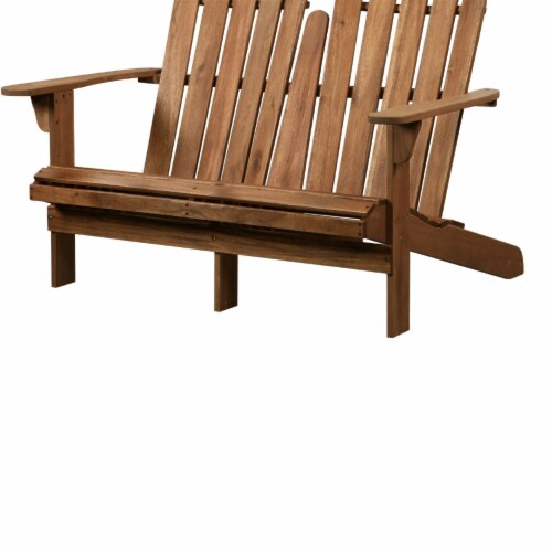 Linon Adirondack Wood Outdoor Double Bench in Acorn Brown Perspective: back